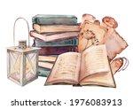 old retro books  lantern and... | Shutterstock . vector #1976083913