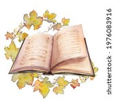 open book with grape leaf... | Shutterstock . vector #1976083916