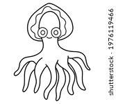 happy cute octopus black linear ... | Shutterstock .eps vector #1976119466