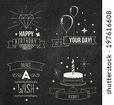 chalk birthday cards set | Shutterstock .eps vector #197616608