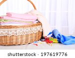 colorful towels in basket on... | Shutterstock . vector #197619776