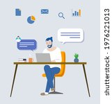 man working from home and icon  | Shutterstock . vector #1976221013