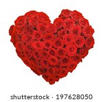 Stock photo red rose flower bouquet heart shape isolated on white background 197628050