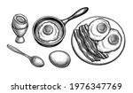 fried and soft boiled eggs.... | Shutterstock .eps vector #1976347769