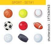 sports balls vector icon set.... | Shutterstock .eps vector #197636963