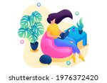 isometric 3d. stay at home  a... | Shutterstock .eps vector #1976372420