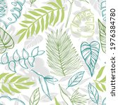 hand drawn tropical plants... | Shutterstock .eps vector #1976384780