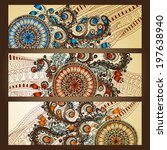paisley batik background. set... | Shutterstock .eps vector #197638940