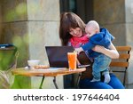 young working mother with her... | Shutterstock . vector #197646404