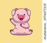 cute pig waving hand cartoon... | Shutterstock .eps vector #1976477219