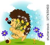 Hedgehog With Dandelions  ...