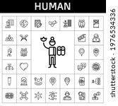 human icon set. line icon style....
