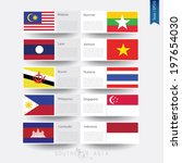flags of nations that are member of AEC ( ASEAN Economic Community), background, brochures, template - vector illustration, EPS10