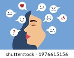 mental health. young woman with ... | Shutterstock .eps vector #1976615156