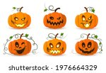 halloween pumpkin icon set.... | Shutterstock .eps vector #1976664329