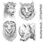 set of safari head animals ... | Shutterstock .eps vector #197669960