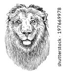 artwork lion  sketch black and... | Shutterstock .eps vector #197669978