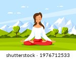 young caucasian woman sitting... | Shutterstock .eps vector #1976712533