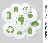 vector eco icons in circle...   Shutterstock .eps vector #197671403