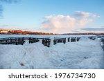 Embankment Of Frozen Volga...