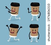 cute paper cup coffee... | Shutterstock .eps vector #1976806310
