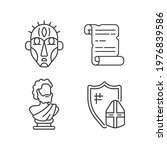 Exploring ancient lives linear icons set. Ritual masks. Manuscripts. Sculpted philosopher bust. Customizable thin line contour symbols. Isolated vector outline illustrations. Editable stroke