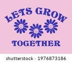retro happy flower vector art... | Shutterstock .eps vector #1976873186