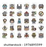 set of ramadan thin line and... | Shutterstock .eps vector #1976895599