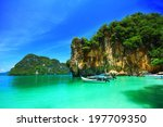boats and the clear sea at phi... | Shutterstock . vector #197709350