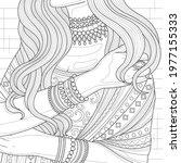 indian girl in sari with... | Shutterstock .eps vector #1977155333