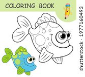 coloring book with funny ocean...   Shutterstock .eps vector #1977160493