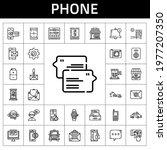 phone icon set. line icon style....