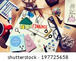 office desk with tools and... | Shutterstock . vector #197725658