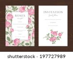 Stock vector floral vector vertical vintage invitation set pink garden roses 197727989