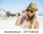 stylish blonde smiling at... | Shutterstock . vector #197728310
