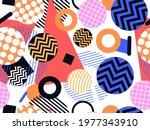 80s geometric seamless pattern. ... | Shutterstock .eps vector #1977343910