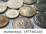 Polish Zloty Coins On White...