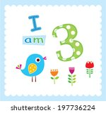 baby bird i am 3 years old... | Shutterstock .eps vector #197736224