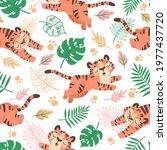 baby tiger seamless pattern.... | Shutterstock .eps vector #1977437720