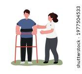 patient standing practice with... | Shutterstock .eps vector #1977504533