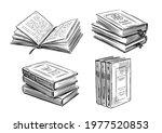 books sketch. literature ... | Shutterstock .eps vector #1977520853