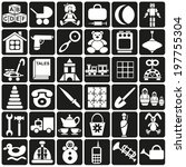 white icons in black rectangles ... | Shutterstock .eps vector #197755304