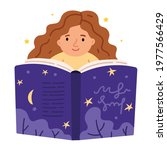 Curly Red Haired Girl Reads A...