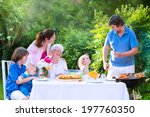 happy big family   young mother ... | Shutterstock . vector #197760350