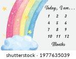 baby milestone blanket rainbow...   Shutterstock .eps vector #1977635039