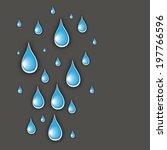 shiny blue rain drops on grey... | Shutterstock .eps vector #197766596