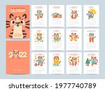 calendar 2022 with cute tigers. ...   Shutterstock .eps vector #1977740789