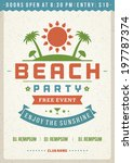 retro summer party design... | Shutterstock .eps vector #197787374