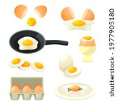 poultry eggs set. flat icons of ... | Shutterstock .eps vector #1977905180