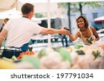 young woman buying vegetables... | Shutterstock . vector #197791034
